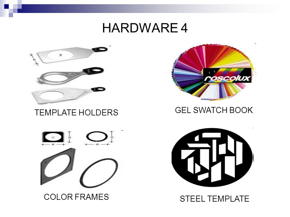 HARDWARE 4 GEL SWATCH BOOK TEMPLATE HOLDERS COLOR FRAMES
