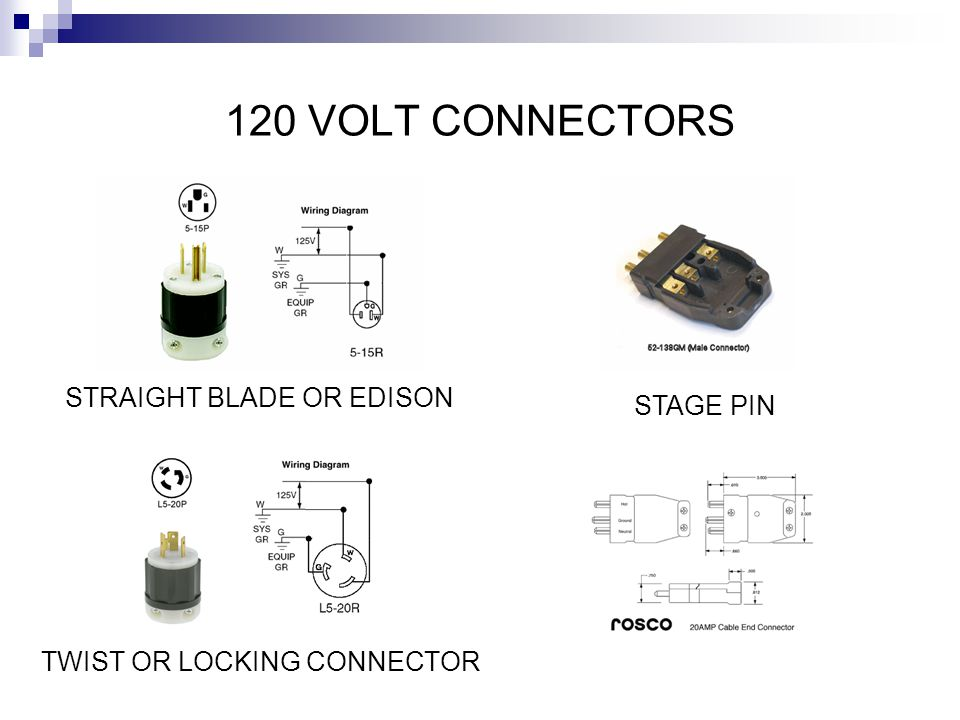 120 VOLT CONNECTORS STRAIGHT BLADE OR EDISON STAGE PIN
