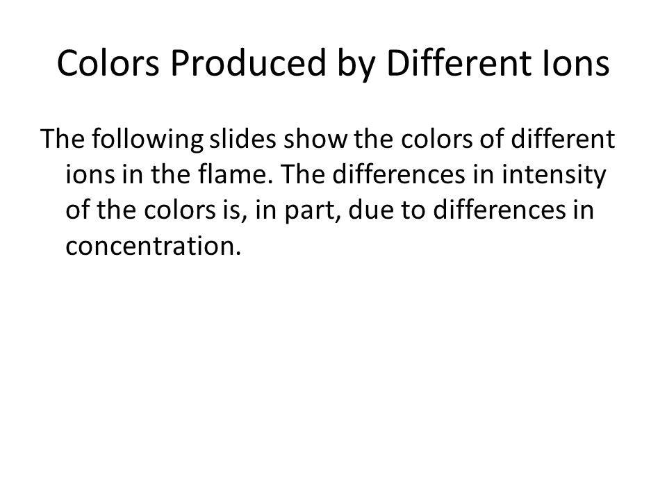 Colors Produced by Different Ions