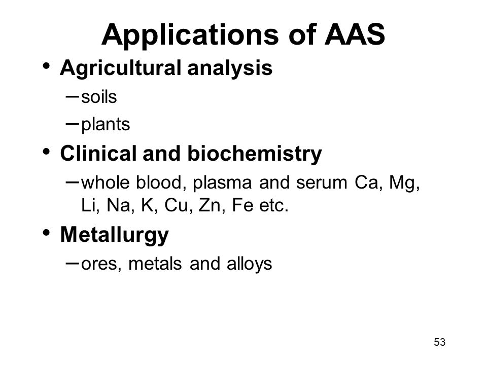 Applications of AAS Agricultural analysis Clinical and biochemistry