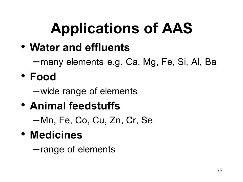 Applications of AAS Water and effluents Food Animal feedstuffs