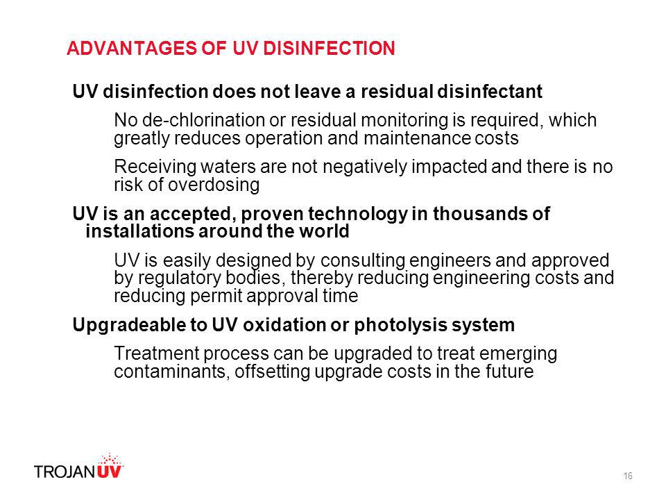 ADVANTAGES OF UV DISINFECTION