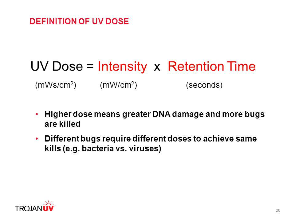 UV Dose = Intensity x Retention Time