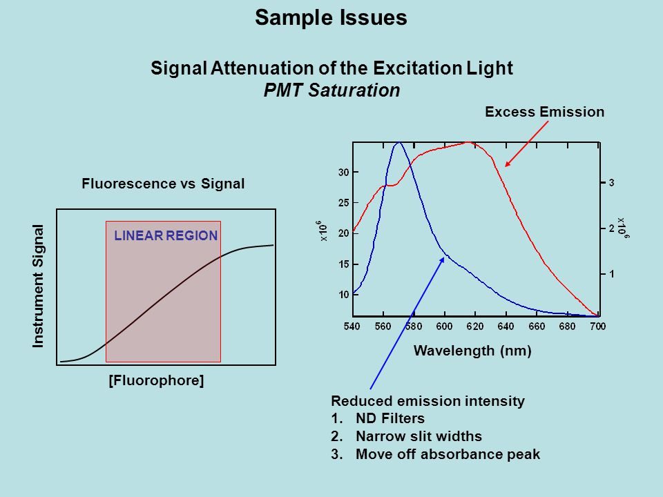 Signal Attenuation of the Excitation Light