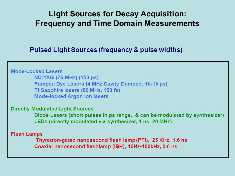 Light Sources for Decay Acquisition: