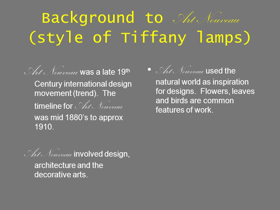 Background to Art Nouveau (style of Tiffany lamps)