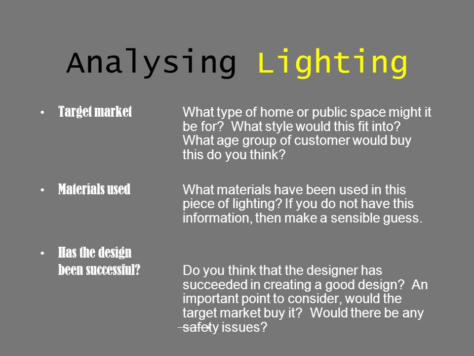 Analysing Lighting