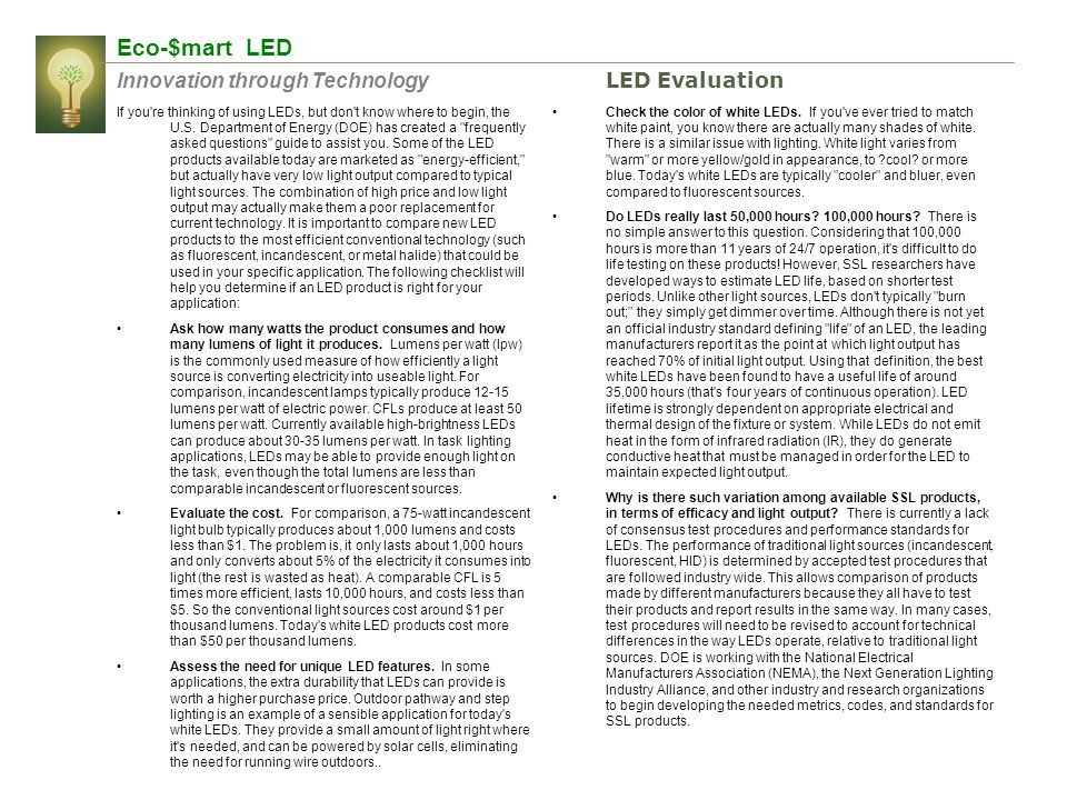 Eco-$mart LED Innovation through Technology LED Evaluation