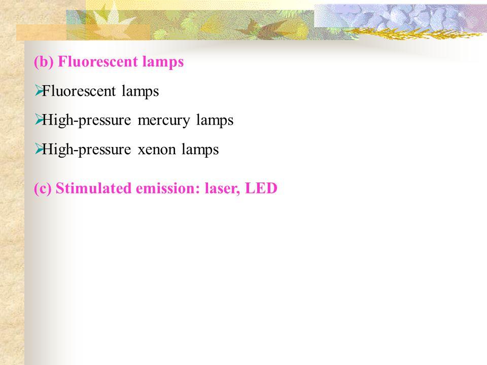 (b) Fluorescent lamps Fluorescent lamps. High-pressure mercury lamps.