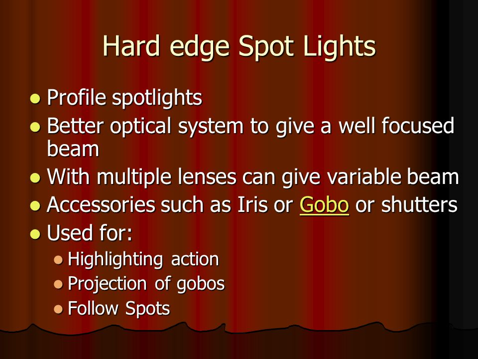 Hard edge Spot Lights Profile spotlights