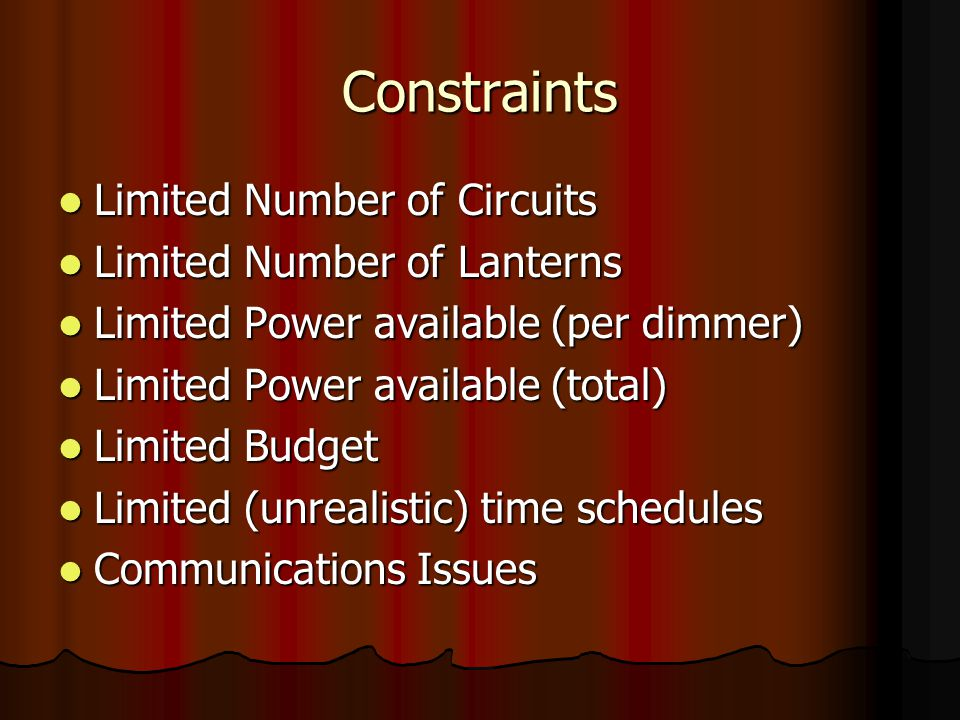 Constraints Limited Number of Circuits Limited Number of Lanterns