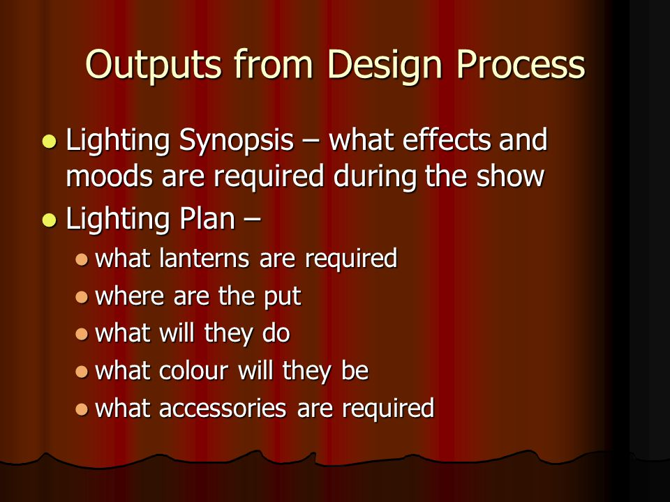 Outputs from Design Process