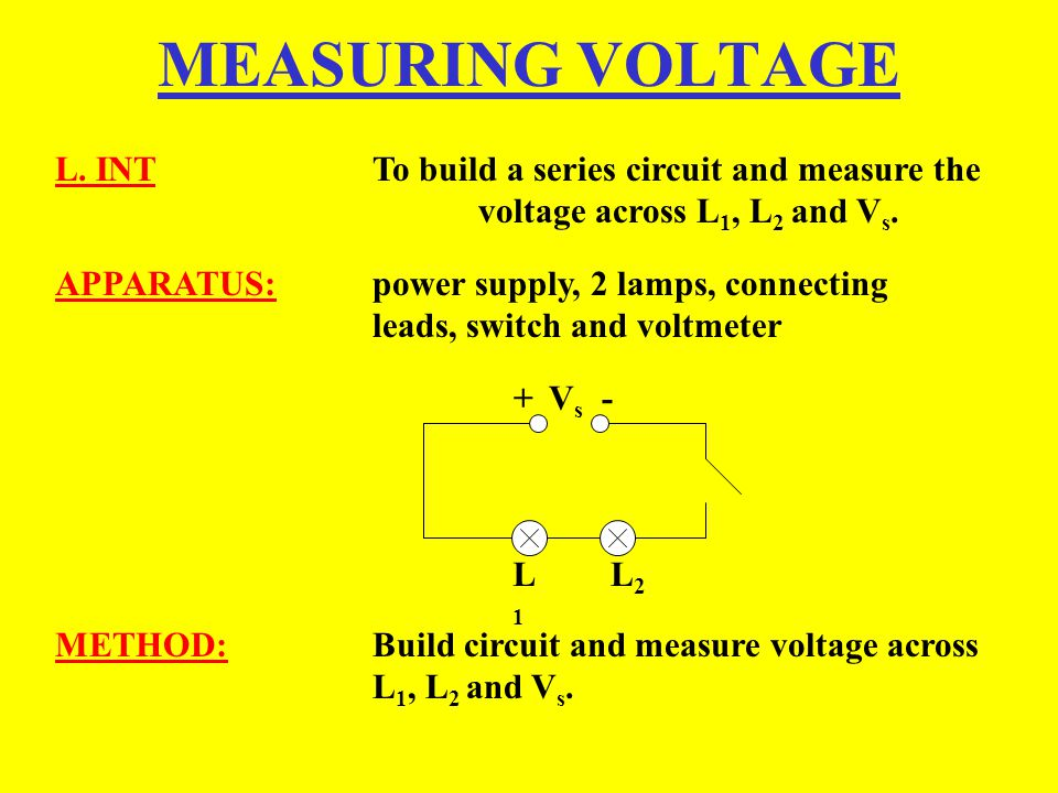 MEASURING VOLTAGE L. INT To build a series circuit and measure the voltage across L1, L2 and Vs.