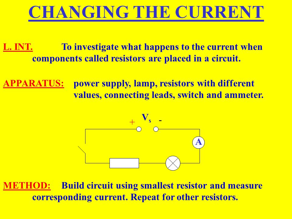 CHANGING THE CURRENT L. INT. To investigate what happens to the current when components called resistors are placed in a circuit.