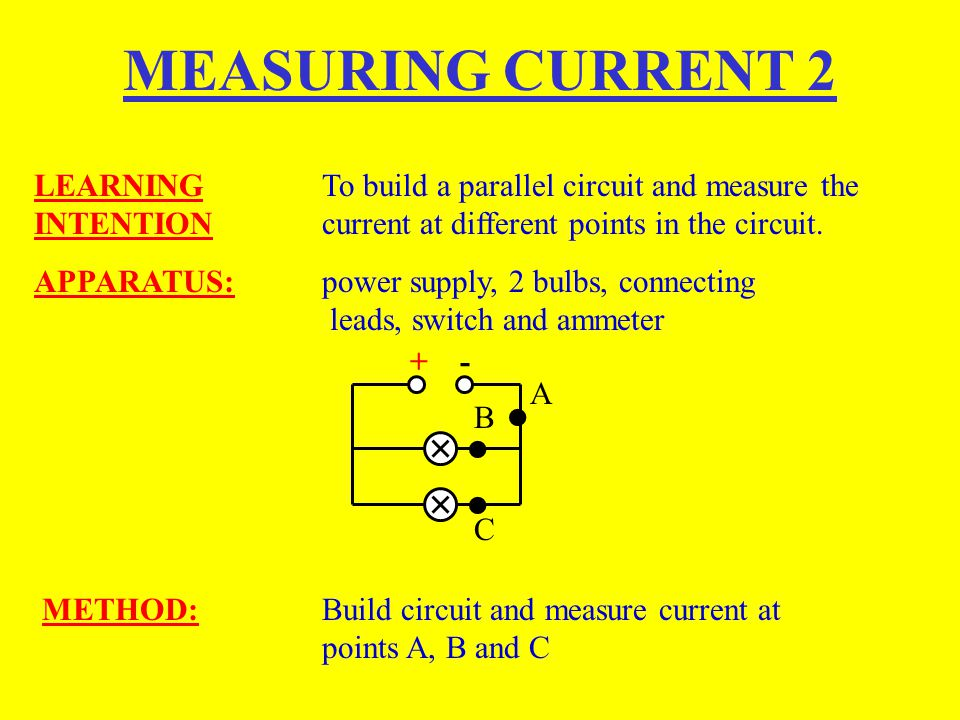 MEASURING CURRENT 2 LEARNING To build a parallel circuit and measure the INTENTION current at different points in the circuit.