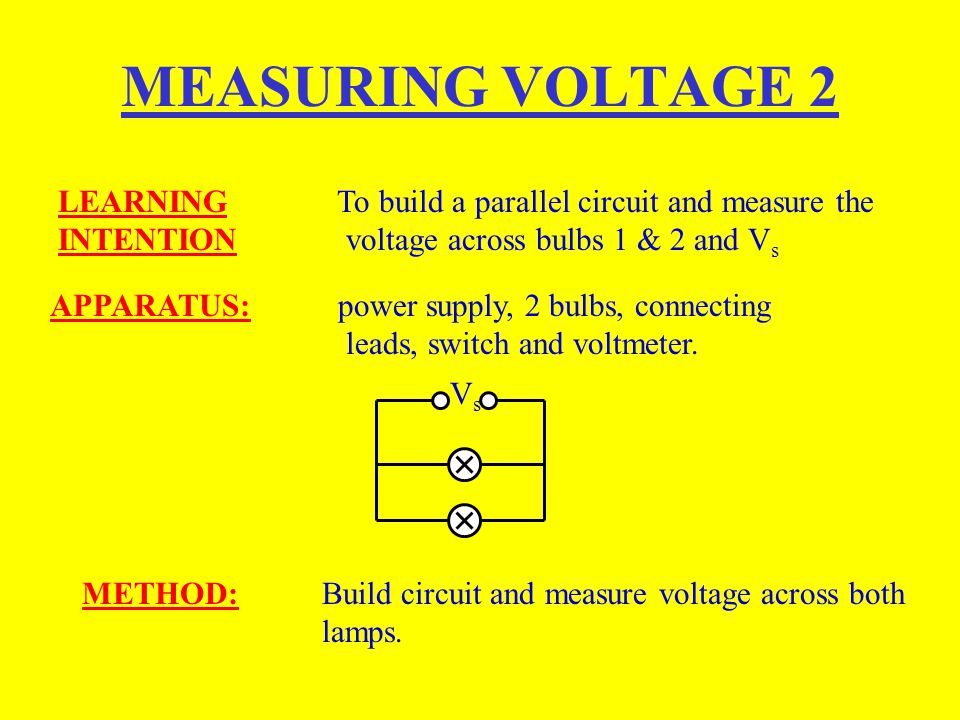 MEASURING VOLTAGE 2 LEARNING To build a parallel circuit and measure the INTENTION voltage across bulbs 1 & 2 and Vs.
