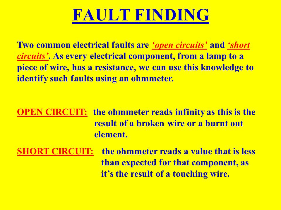FAULT FINDING