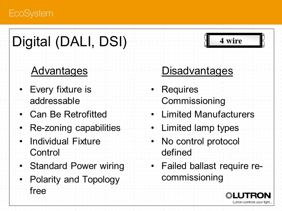 Digital (DALI, DSI) Advantages Disadvantages