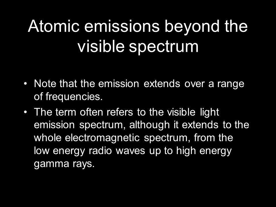 Atomic emissions beyond the visible spectrum