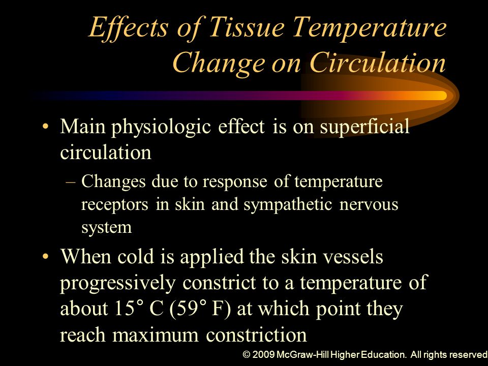 Effects of Tissue Temperature Change on Circulation