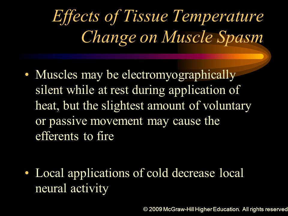 Effects of Tissue Temperature Change on Muscle Spasm