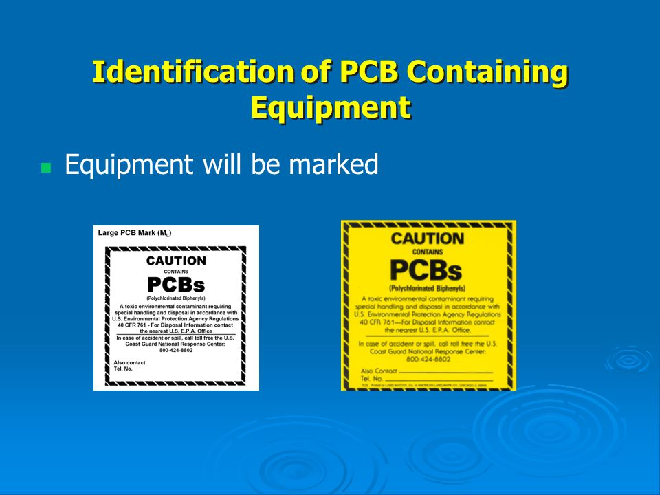 Identification of PCB Containing Equipment