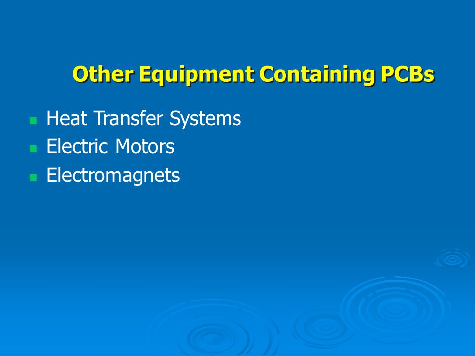 Other Equipment Containing PCBs