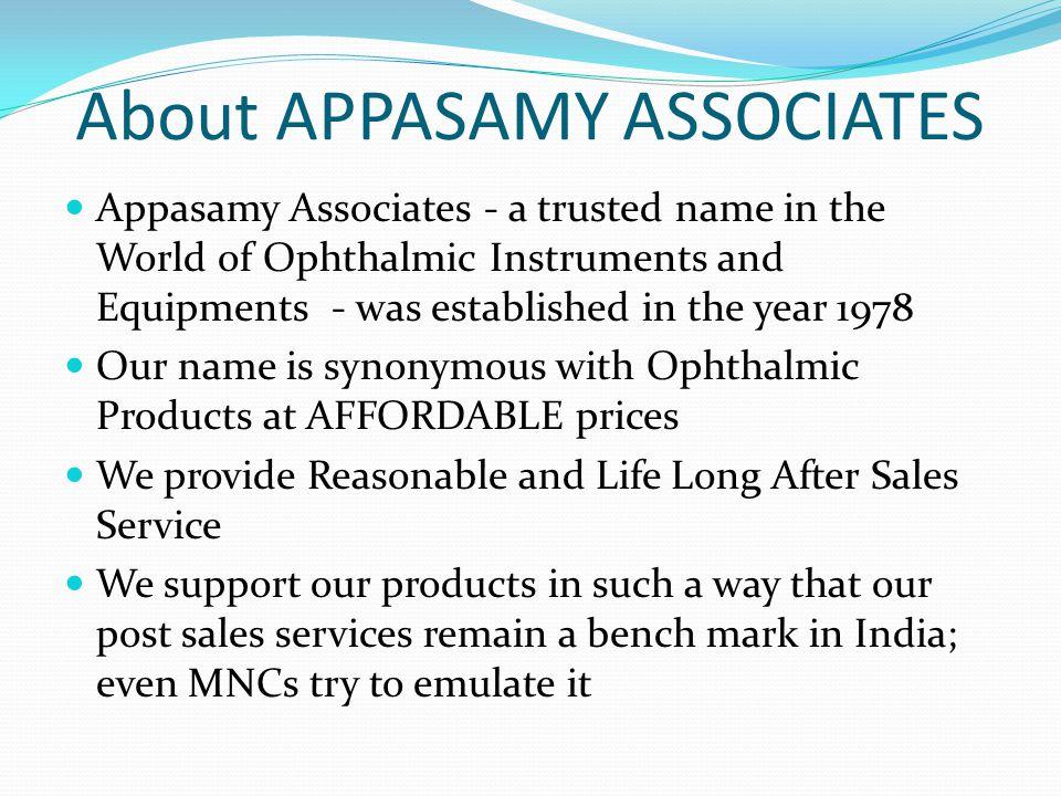 About APPASAMY ASSOCIATES