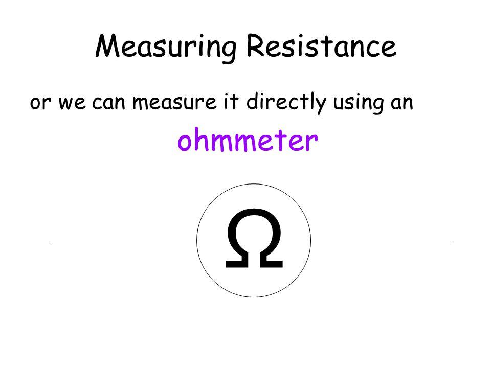 Ω Measuring Resistance ohmmeter or we can measure it directly using an