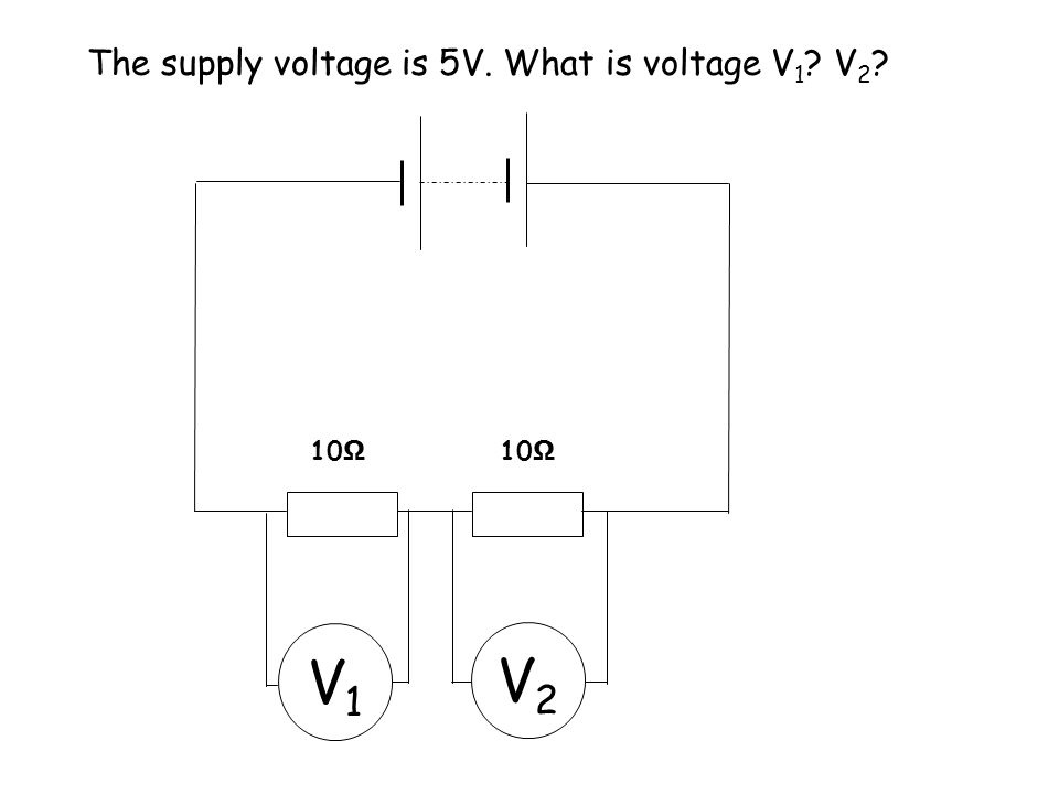 The supply voltage is 5V. What is voltage V1 V2