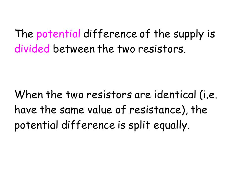 The potential difference of the supply is
