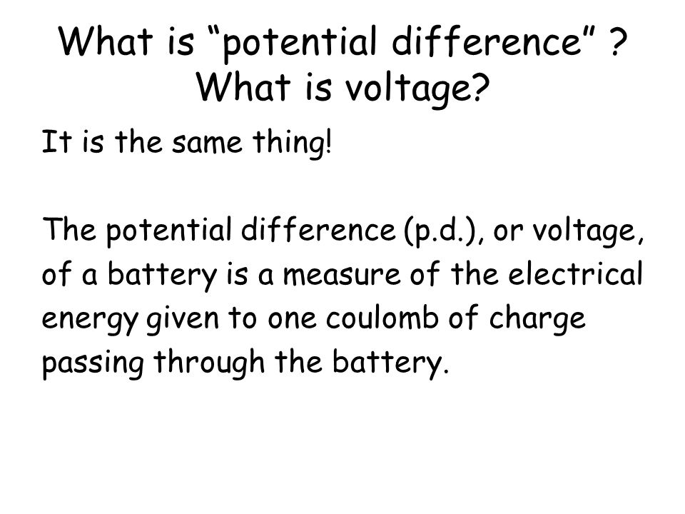What is potential difference What is voltage