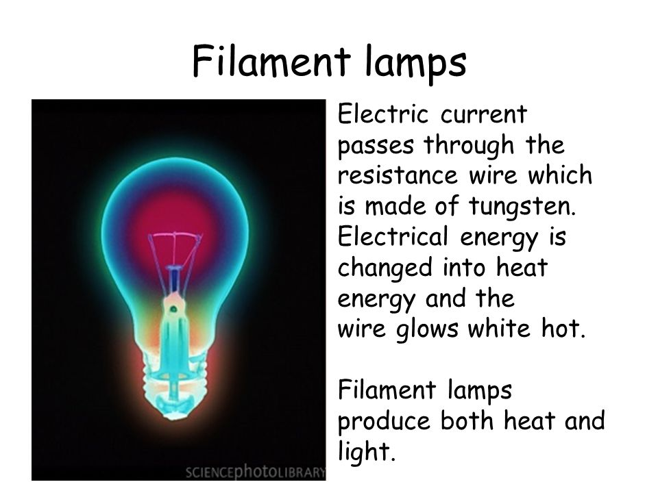Filament lamps Electric current passes through the