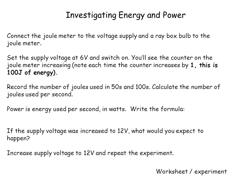 Investigating Energy and Power