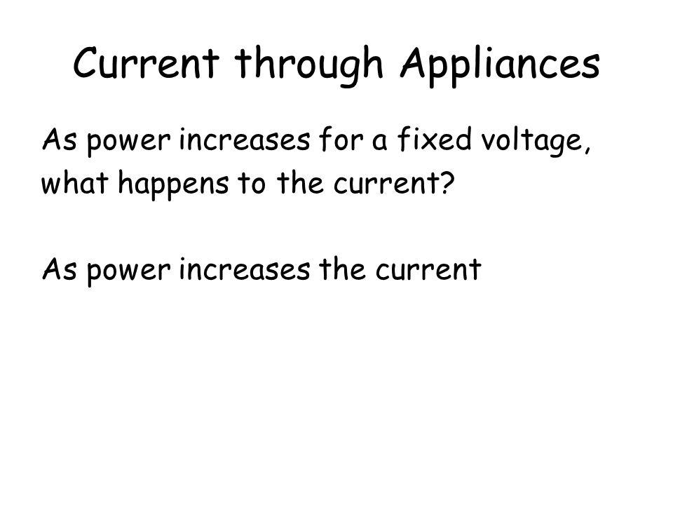 Current through Appliances
