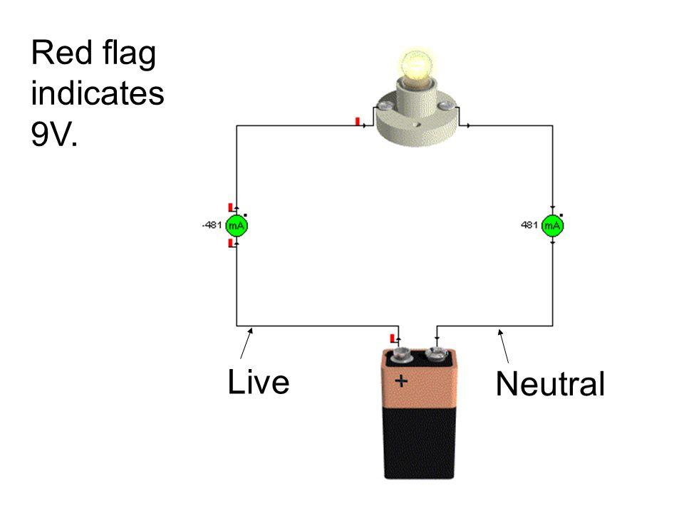 Red flag indicates 9V. Live Neutral