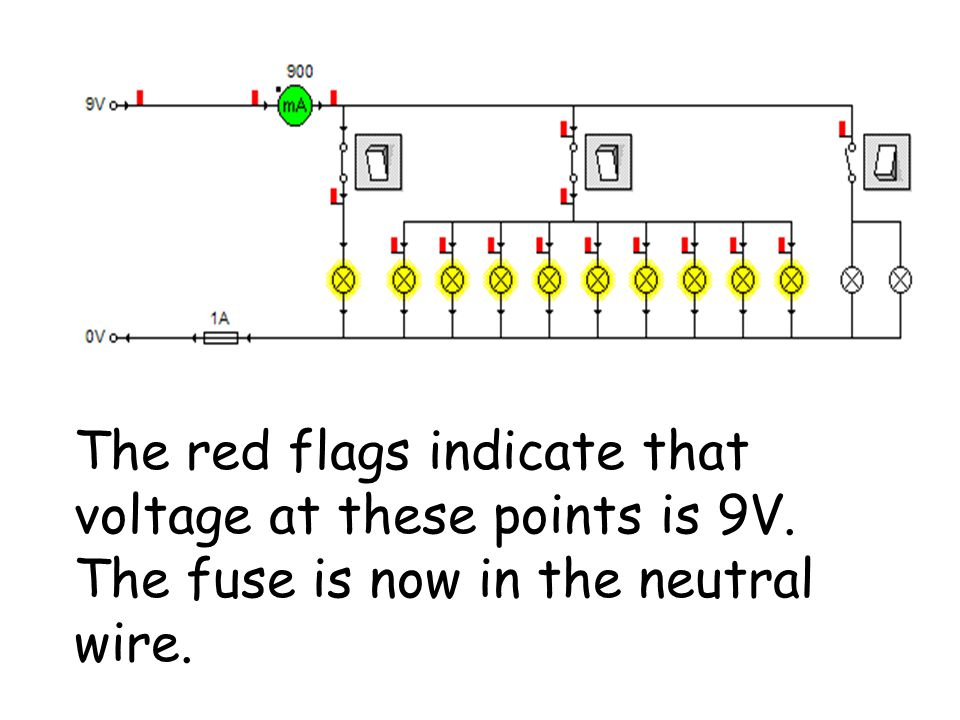 The red flags indicate that voltage at these points is 9V