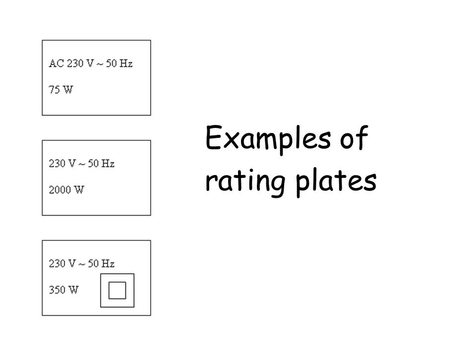 Examples of rating plates