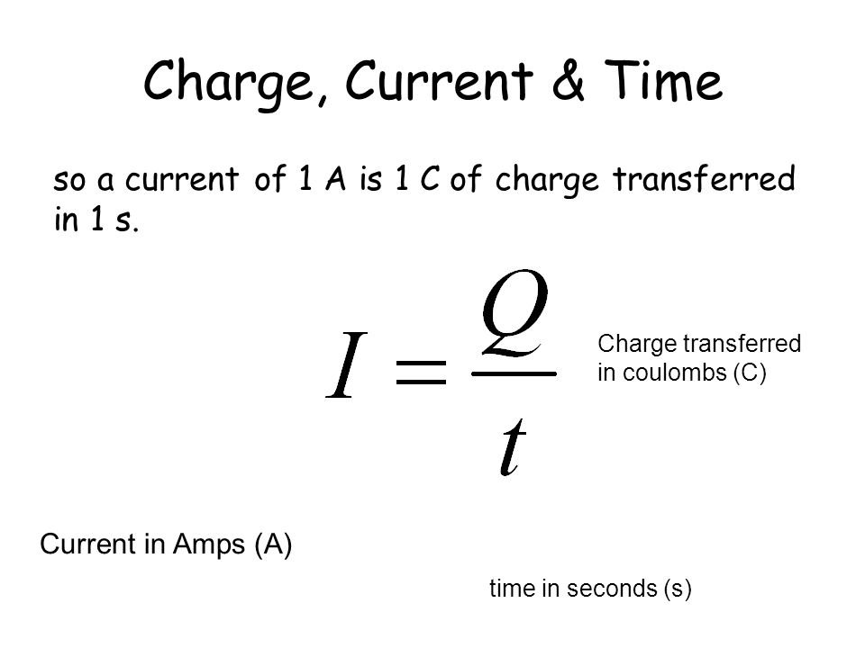 Charge, Current & Time If current is charge flowing per second then
