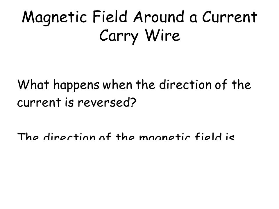 Magnetic Field Around a Current Carry Wire