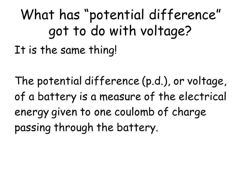 What has potential difference got to do with voltage