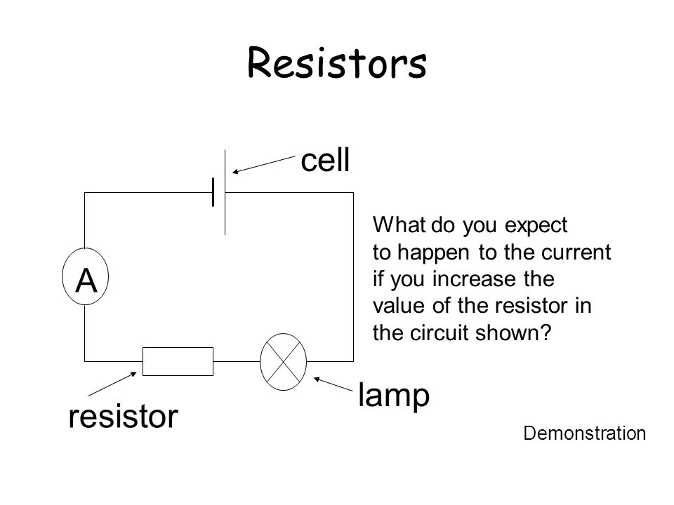 Resistors cell A lamp resistor What do you expect