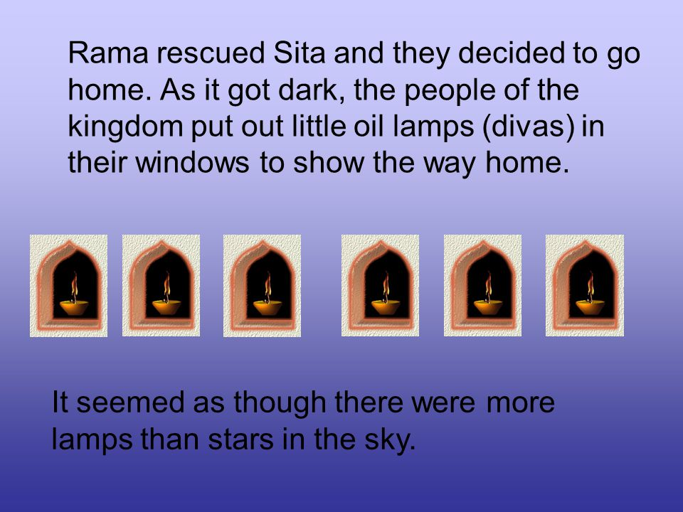 Rama rescued Sita and they decided to go home