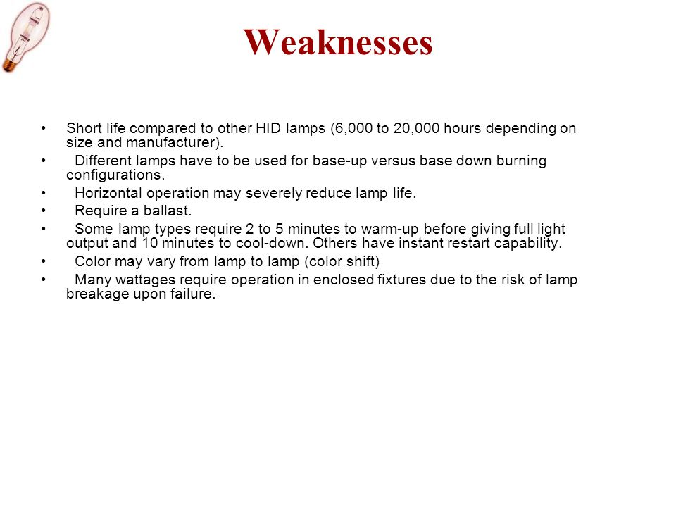 Weaknesses Short life compared to other HID lamps (6,000 to 20,000 hours depending on size and manufacturer).