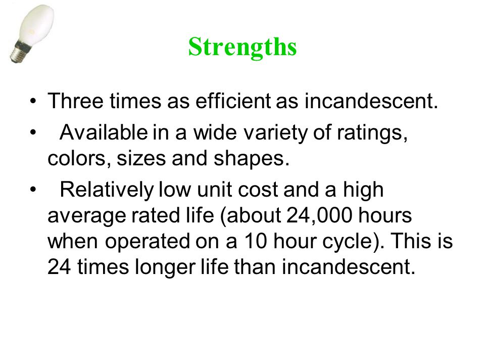Strengths Three times as efficient as incandescent.