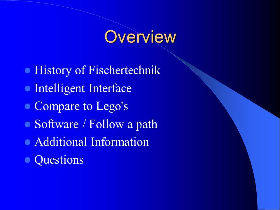 Overview History of Fischertechnik Intelligent Interface