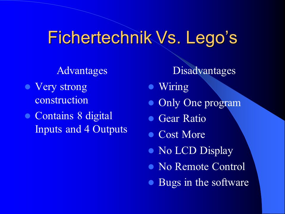 Fichertechnik Vs. Lego's