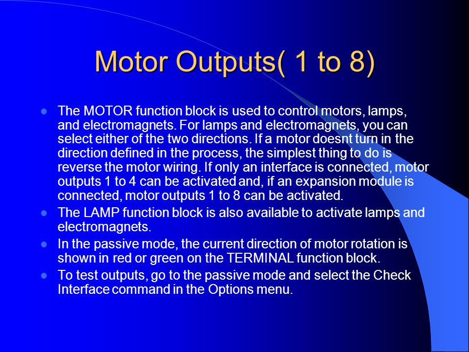 Motor Outputs( 1 to 8)