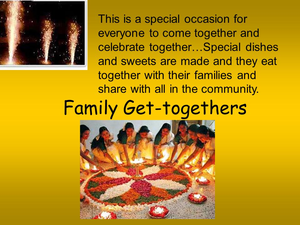 This is a special occasion for everyone to come together and celebrate together…Special dishes and sweets are made and they eat together with their families and share with all in the community.