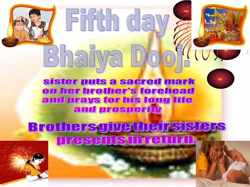 Fifth day Bhaiya Dooj. sister puts a sacred mark